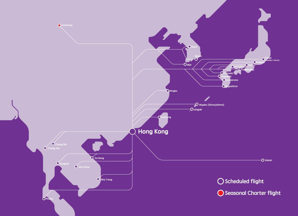 HK Express - Destinations Route Map - Direct and Connecting Flights ...