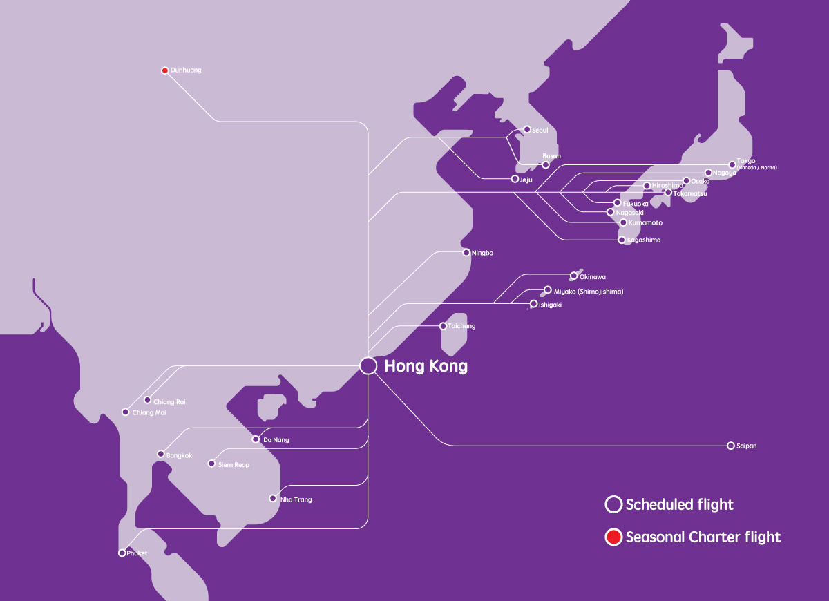 HK Express - Destinations Route Map - Direct and Connecting ...