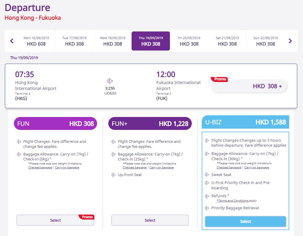 HK Express - Fare categories